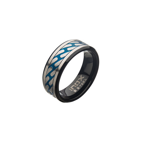 Matte Stainless Steel Curb Chain Ring // Blue + Silver (Size 9)