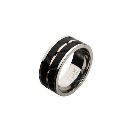 Matte Stainless Steel Raised Wave Ring // Black + Silver + Rose Gold (Size 9)