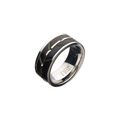 Matte Stainless Steel Raised Wave Ring // Black + Silver (Size 9)