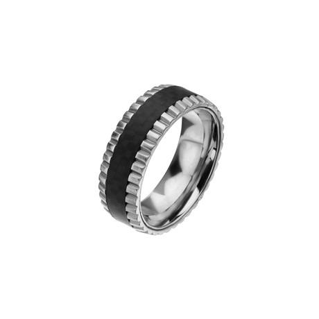 Solid Carbon Fiber + Ridged Edge Ring // Silver + Black (Ring Size: 10)