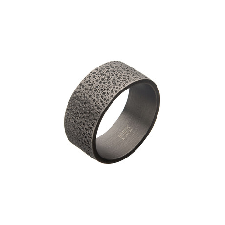 Antiqued Stainless Steel Magma Ring // Silver (Size 9)
