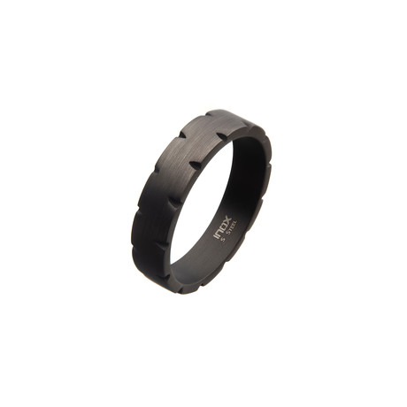 Stainless Steel Chiseled Band Ring // Black (Size 9)