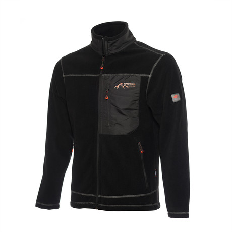 Full Zip Pieced Fleece Jacket // Black (S)