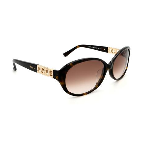 Women's SF736SA-214 Oval Sunglasses // Tortoise + Brown Gradient