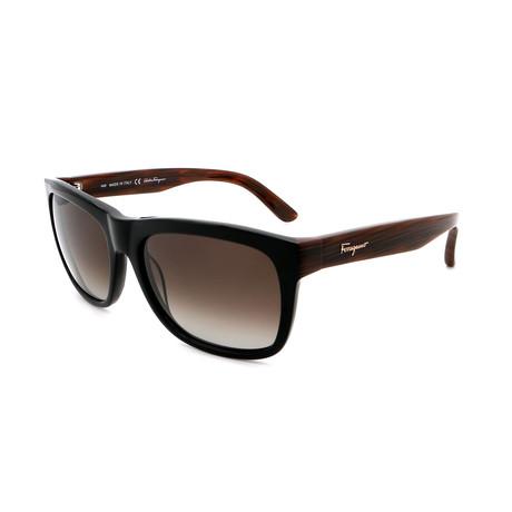 Men's SF686S-001 Rectangle Sunglasses // Black + Brown