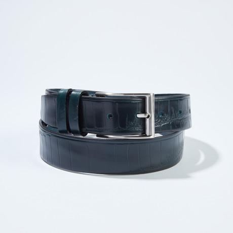 "Croc Belt // Cobalt Blue (Size 30"")"