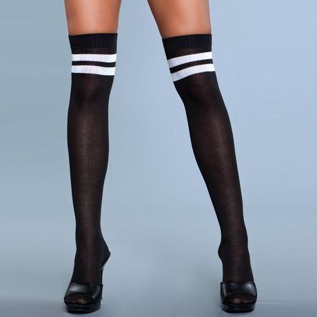 Stripe Knee High Stocking // Black // Set of 2