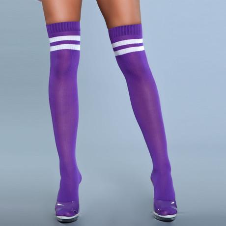 Stripe Knee High Stocking // Purple // Set of 2