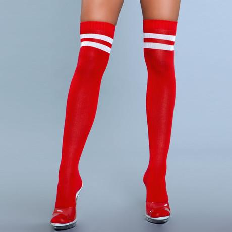 Stripe Knee High Stocking // Red // Set of 2