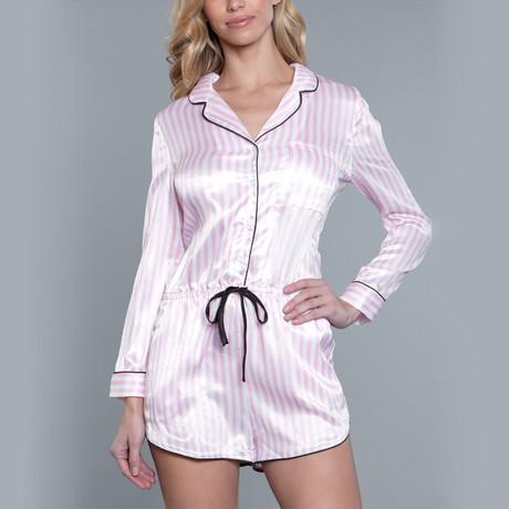 Nicole Stripe Sleepwear Set // Light Pink + White (Small/Medium)