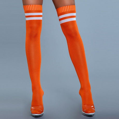 Stripe Knee High Stocking // Orange // Set of 2