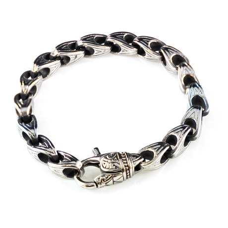 Dell Arte // Incrusted Stainless Steel Bracelet + Lobster Closure // Silver
