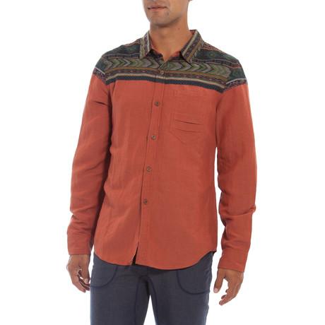 Aztec Accent Long Sleeve Button-Down Shirt // Orange (S)