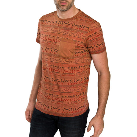 Aztec Print T-Shirt // Rust (S)