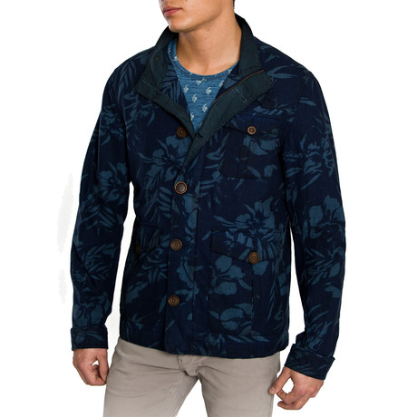 Hawaiian Print Utility Jacket // Dark Blue (S)