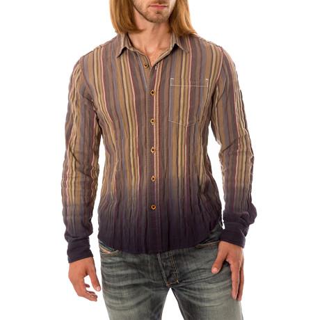 Striped Long Sleeve Button-Down Shirt // Brown (S)
