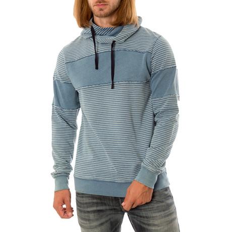Striped Long Sleeve Hoodie // Blue (S)