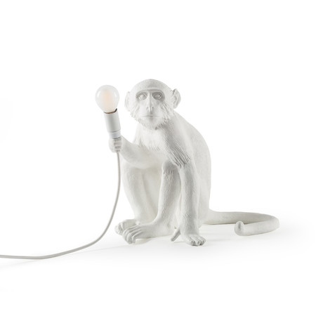 Monkey Lamp // Outdoor // White // Sitting