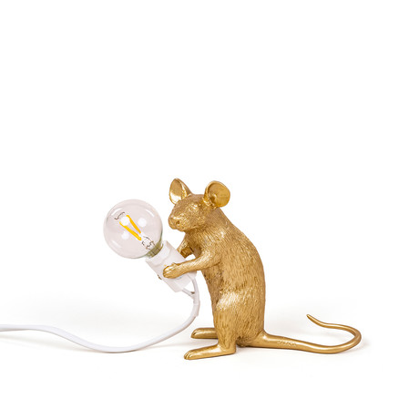 Mouse Lamp // Gold // Sitting