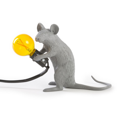 Mouse Lamp // Gray // Sitting