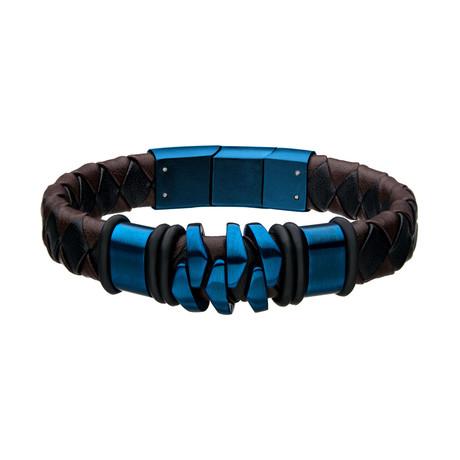 Leather Bohemian Bracelet (Brown + Blue)