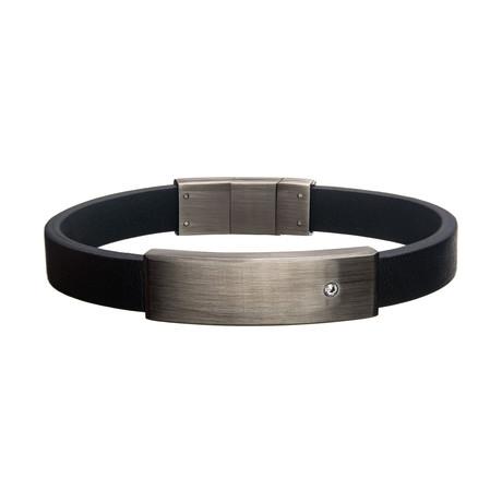 Stainless Steel + CZ ID Bracelet // Black