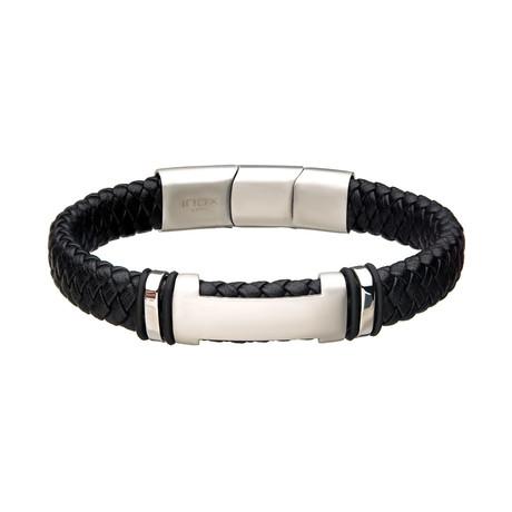 Leather + Steel ID Bracelet (Black + Steel)