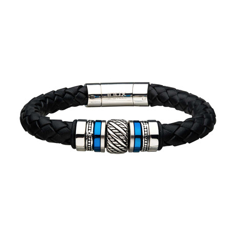 Braided Leather + Steel Beads Bracelet // Silver + Blue