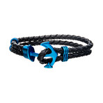 Braided Leather Anchor Bracelet (Blue)