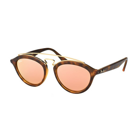 Men's Oval Double Bridged Sunglasses // Brown + Gold + Copper