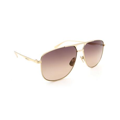 Men's GG0336S-001 Aviator Sunglasses // Gold + Brown Gradient