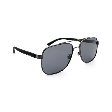 Men's GG0422S-002 Square Sunglasses // Black + Gray