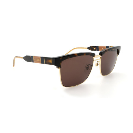 Men's GG0603S-003 Clubmaster Sunglasses // Gold + Havana