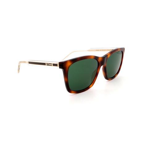 Men's GG0558S-003 Square Sunglasses // Havana + Green