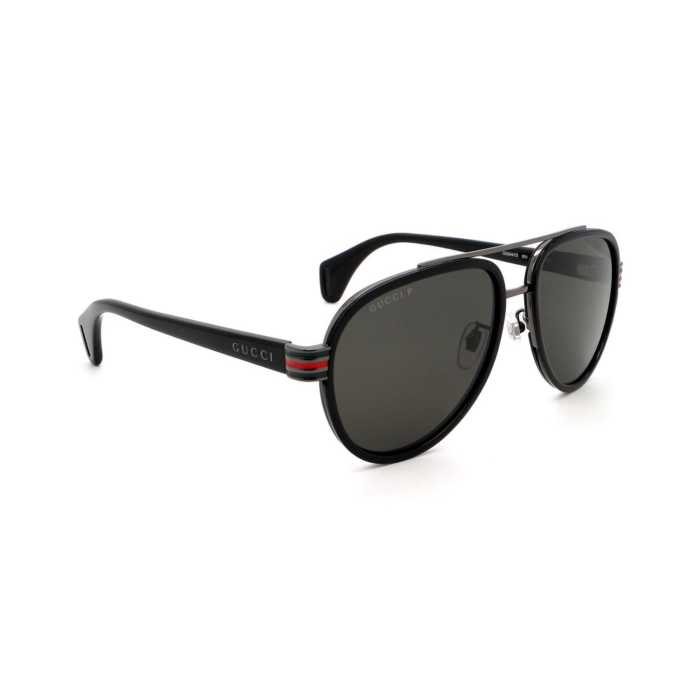 Men's Aviator Polarized Sunglasses // Black + Gray
