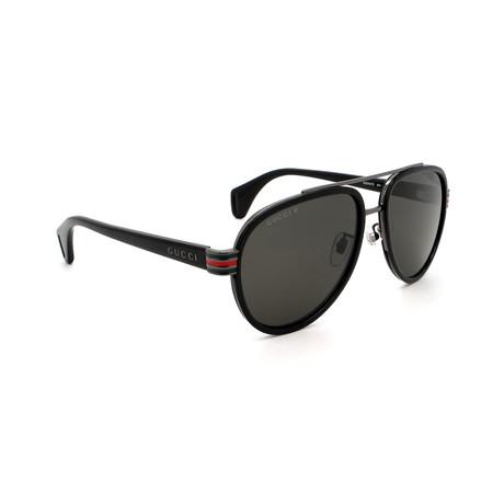 Men's GG0447S-001 Aviator Polarized Sunglasses // Black + Gray