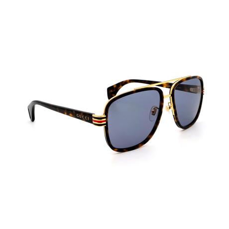 Men's GG0448S-004 Square Sunglasses // Havana + Light Blue