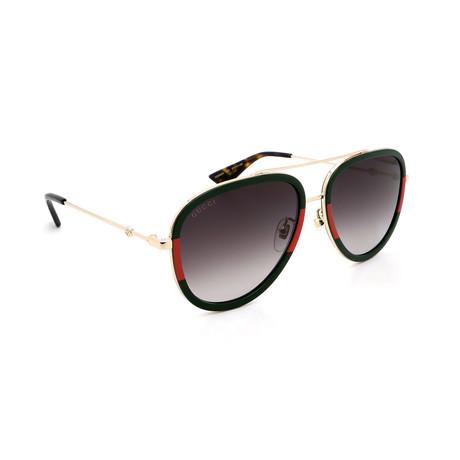 Unisex GG0062S-003 Aviator Sunglasses // Gold + Green