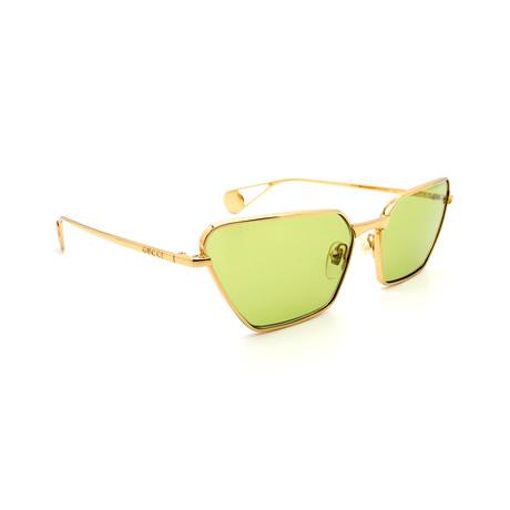 Unisex GG0538S-003 Cat Eye Sunglasses // Gold + Green