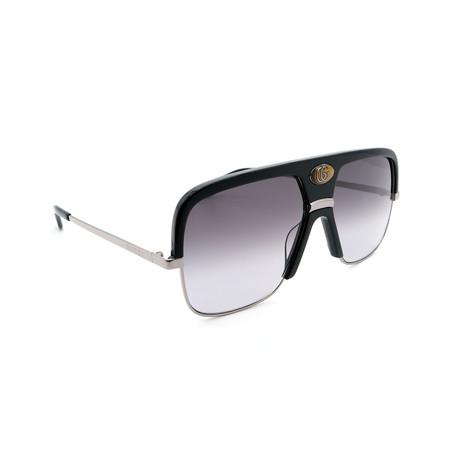 Men's GG0478S-001 Oversized Sunglasses // Black + Silver + Gray Gradient