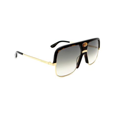 Men's GG0478S-002 Oversized Sunglasses // Havana + Gold + Green Gradient