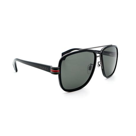 Men's GG0448S-001 Square Sunglasses // Black + Gray