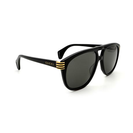 Men's GG0525S-001 Double Bridge Sunglasses // Black + Gray