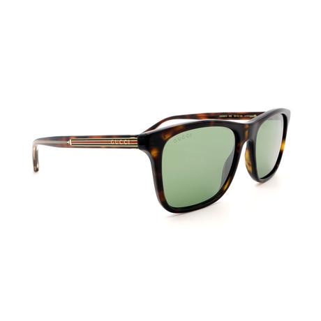 Men's GG0381S-003 Sunglasses // Havana + Green