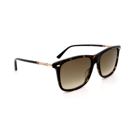 Men's GG0518S-002 Square Sunglasses // Havana + Brown Gradient