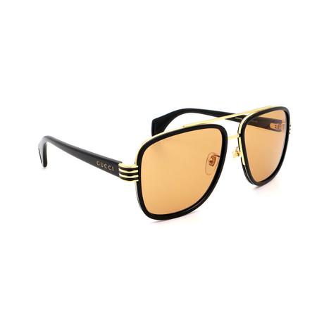 Men's GG0448S-002 Square Sunglasses // Black + Gold Mirror