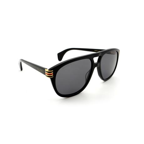 Men's GG0525S-002 Double Bridge Polarized Sunglasses // Black + Gray