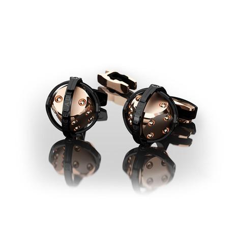 Dices Cufflinks // Rose Gold + Black