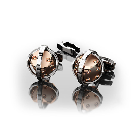 Dices Cufflinks // Rose Gold + Steel