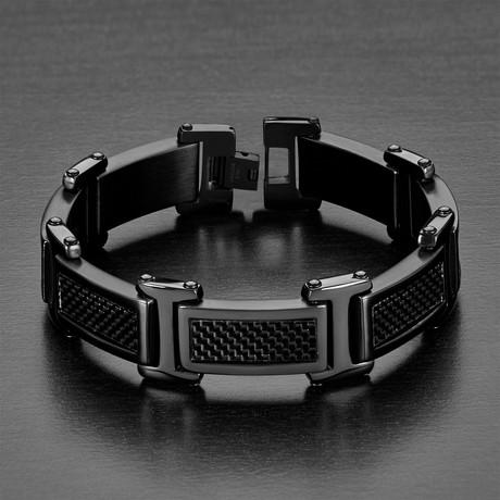 Stainless Steel + Carbon Fiber Link Bracelet // Black